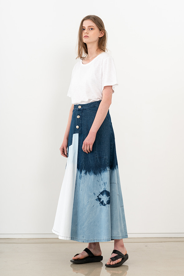 [20SS] TIE-DYE DENIM MAXI SKIRT (JTSK102)