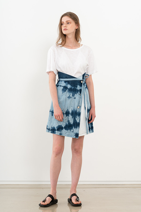 [20SS] TIE-DYE DENIM BELTED SKIRT (JTSK101)
