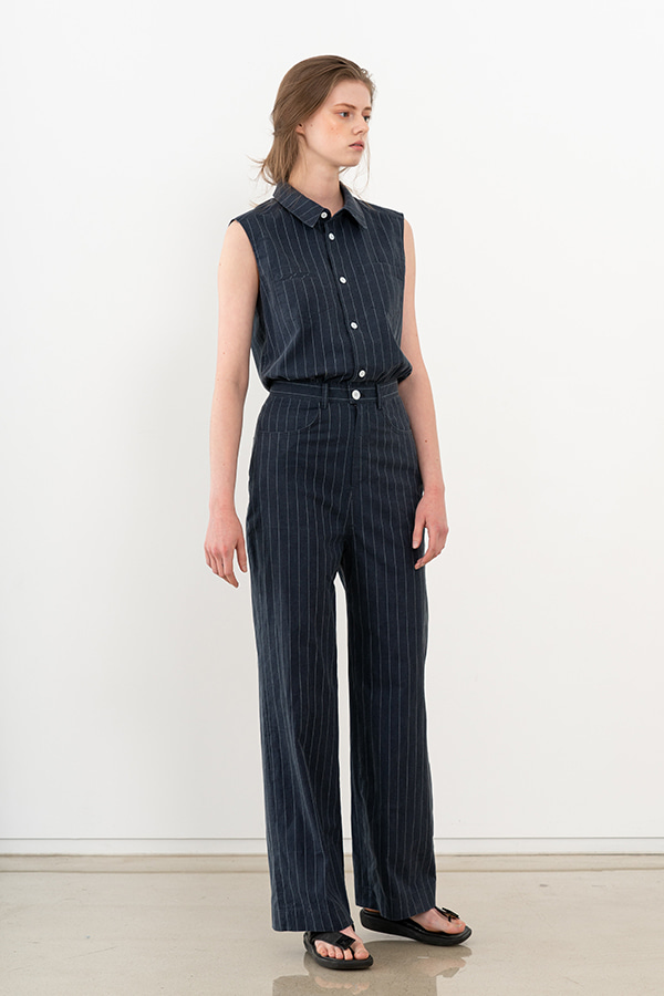 [20SS] STRIPED SLEEVELESS JUMPSUIT (JTSD105)