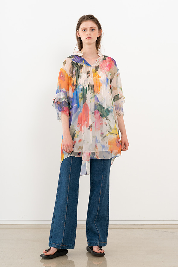 [20SS] FLOWER PRINT SILK TOP (JTST104)