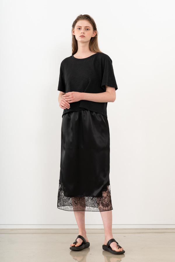 [20SS] SILK LACE DETAIL SKIRT (JTSK106-15)