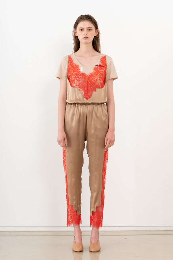 [20SS] SILK LACE DETAIL SLEEVELESS JUMPSUIT (JTSD109)