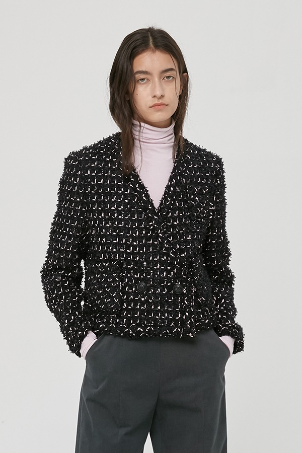 [20FW] BLACK TWEED CROPPED JACKET (JTJJ117)