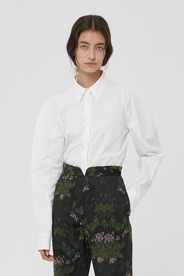 [20FW] WHITE COTTON ROUND SHOULDER SHIRT (JTJB102)