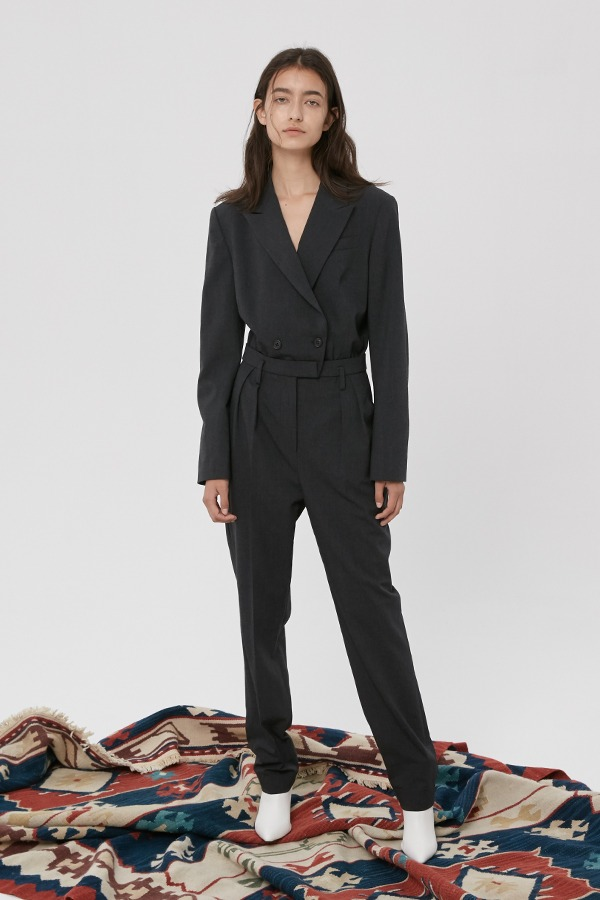 [20FW] GREY WOOL TAILORED BLAZER JUMPSUIT (JTJD114)
