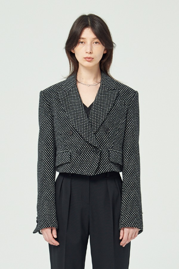 [20FW] BLACK DOT WOOL CROPPED JACKET (JTJJ125)