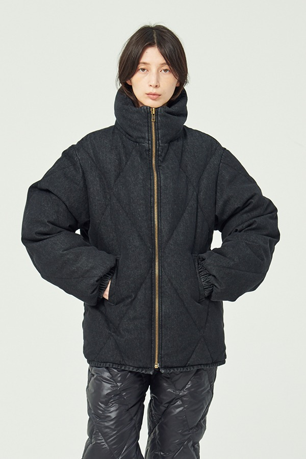 [FLASHSALE][20FW] WASHED DENIM PUFFER GOOSE DOWN JACKET (JTJJ107-15)
